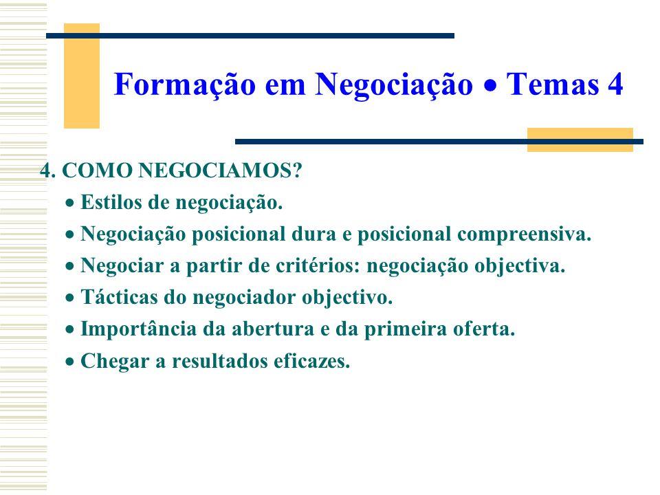 Formação em Negociação Temas 4 4. COMO NEGOCIAMOS? Estilos de negociação. Negociação posicional dura e posicional compreensiva. Negociar a partir de c