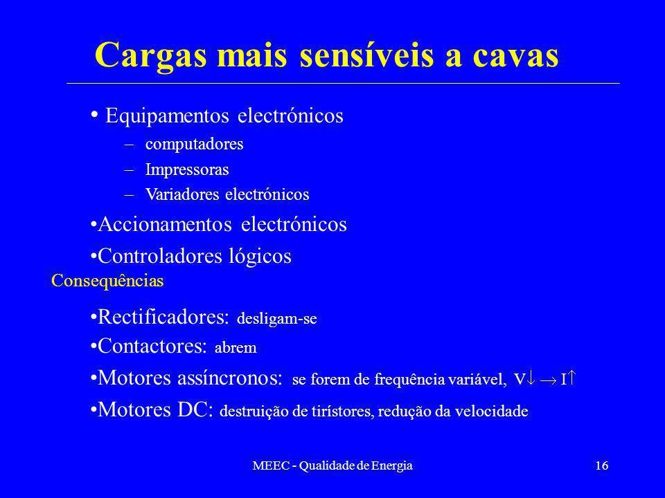 MEEC - Qualidade de Energia16 Equipamentos electrónicos –computadores –Impressoras –Variadores electrónicos Accionamentos electrónicos Controladores l