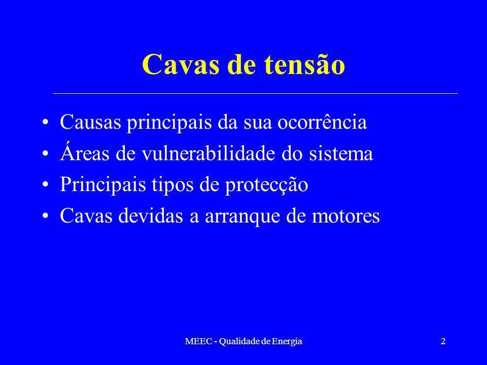 MEEC - Qualidade de Energia2 Cavas de tensão Causas principais da sua ocorrência Áreas de vulnerabilidade do sistema Principais tipos de protecção Cav