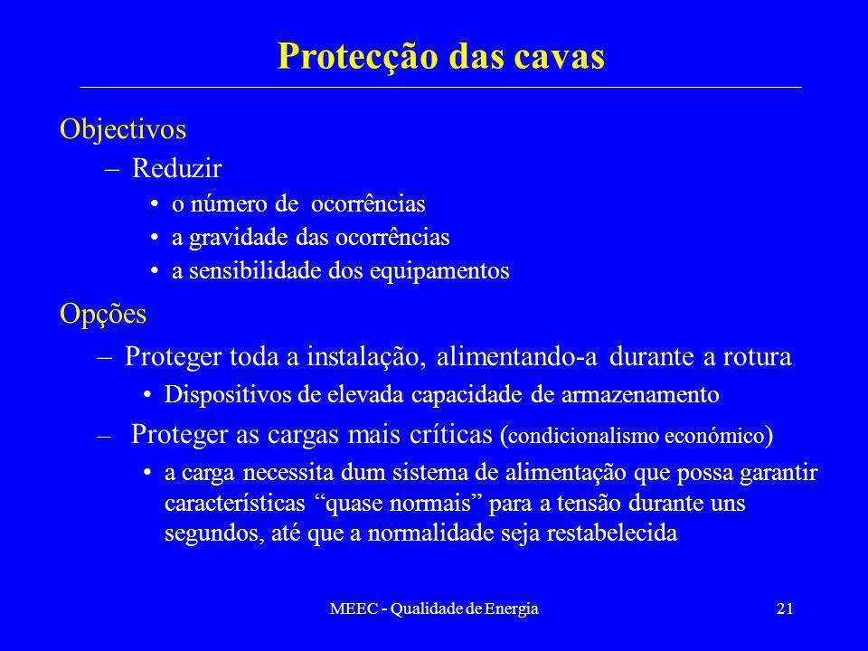 MEEC - Qualidade de Energia21 Objectivos –Reduzir o número de ocorrências a gravidade das ocorrências a sensibilidade dos equipamentos Protecção das c