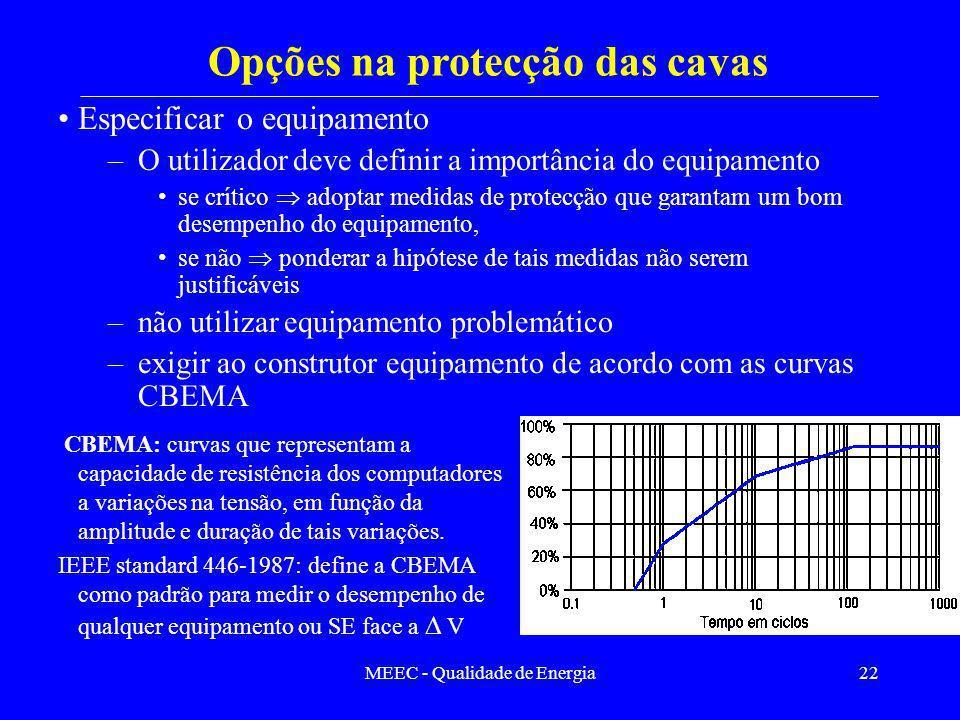 MEEC - Qualidade de Energia22 Especificar o equipamento –O utilizador deve definir a importância do equipamento se crítico adoptar medidas de protecçã
