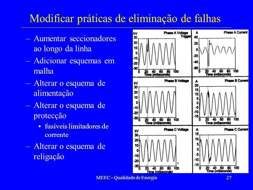 MEEC - Qualidade de Energia27 Modificar práticas de eliminação de falhas –Aumentar seccionadores ao longo da linha –Adicionar esquemas em malha –Alter