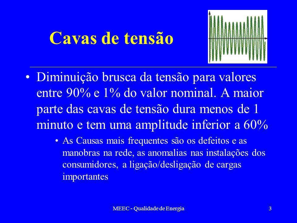MEEC - Qualidade de Energia3 Cavas de tensão Diminuição brusca da tensão para valores entre 90% e 1% do valor nominal. A maior parte das cavas de tens