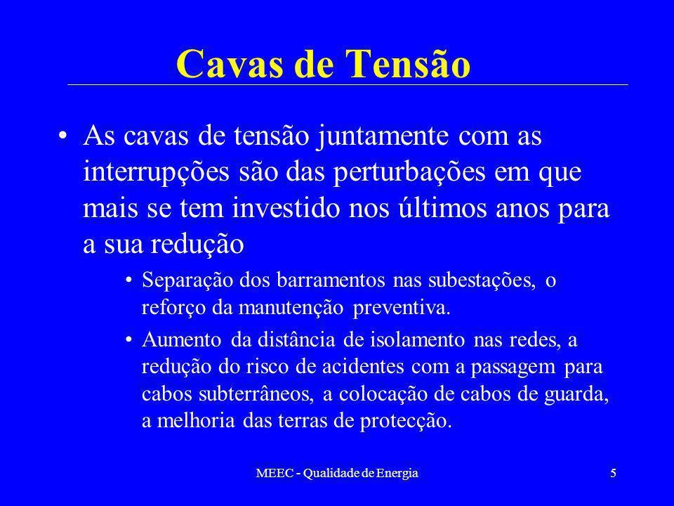 MEEC - Qualidade de Energia5 Cavas de Tensão As cavas de tensão juntamente com as interrupções são das perturbações em que mais se tem investido nos ú