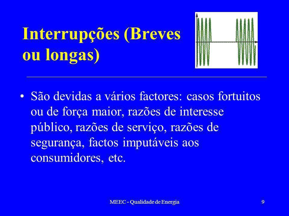 MEEC - Qualidade de Energia9 Interrupções (Breves ou longas) São devidas a vários factores: casos fortuitos ou de força maior, razões de interesse púb