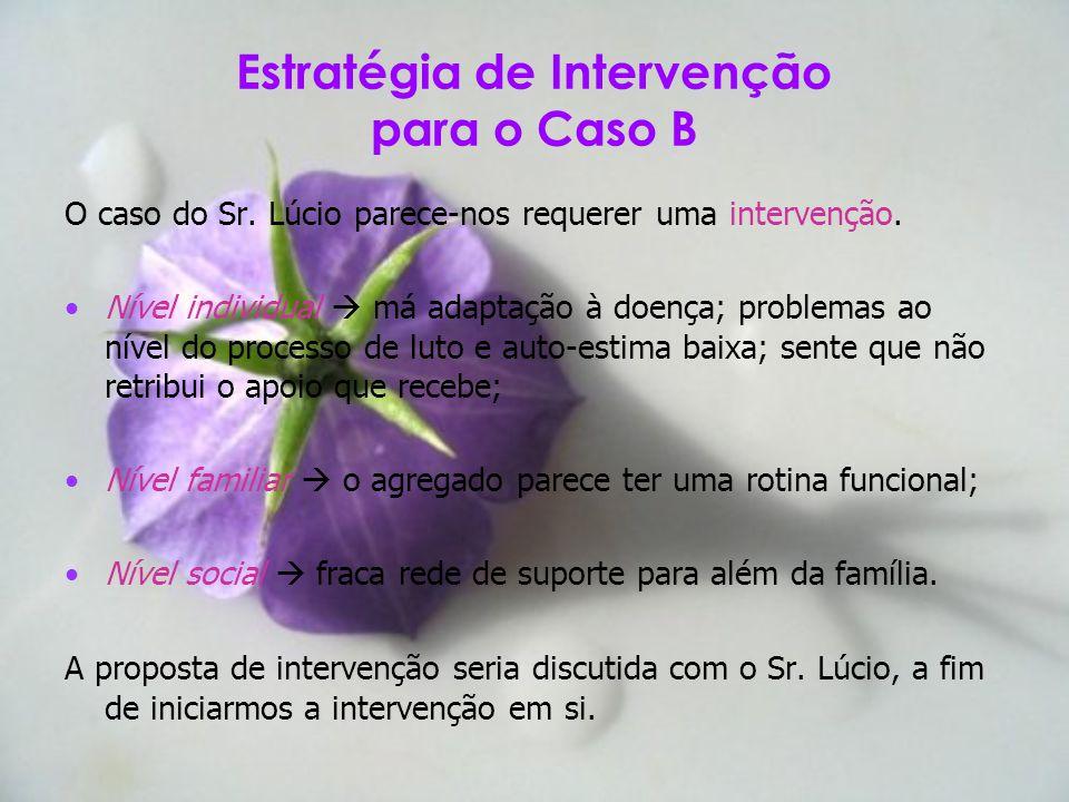 Estratégia de Intervenção para o Caso B O caso do Sr. Lúcio parece-nos requerer uma intervenção. Nível individual má adaptação à doença; problemas ao