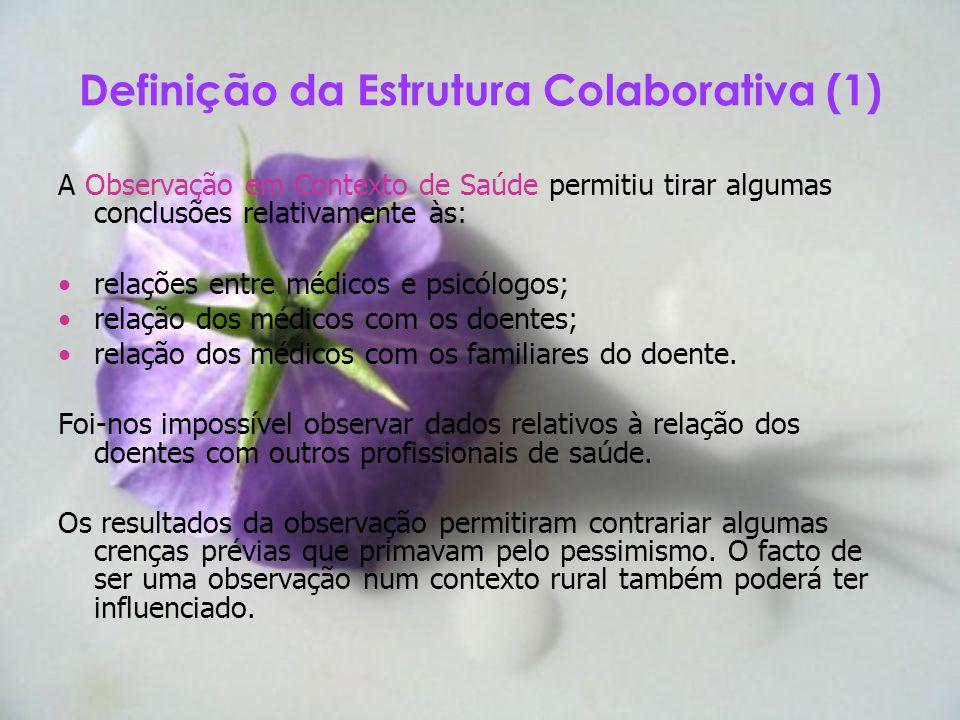 Definição da Estrutura Colaborativa (1) A Observação em Contexto de Saúde permitiu tirar algumas conclusões relativamente às: relações entre médicos e