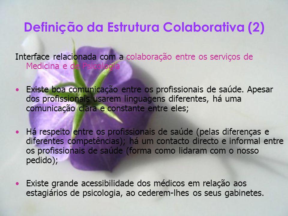 Definição da Estrutura Colaborativa (2) Interface relacionada com a colaboração entre os serviços de Medicina e de Psicologia Existe boa comunicação e