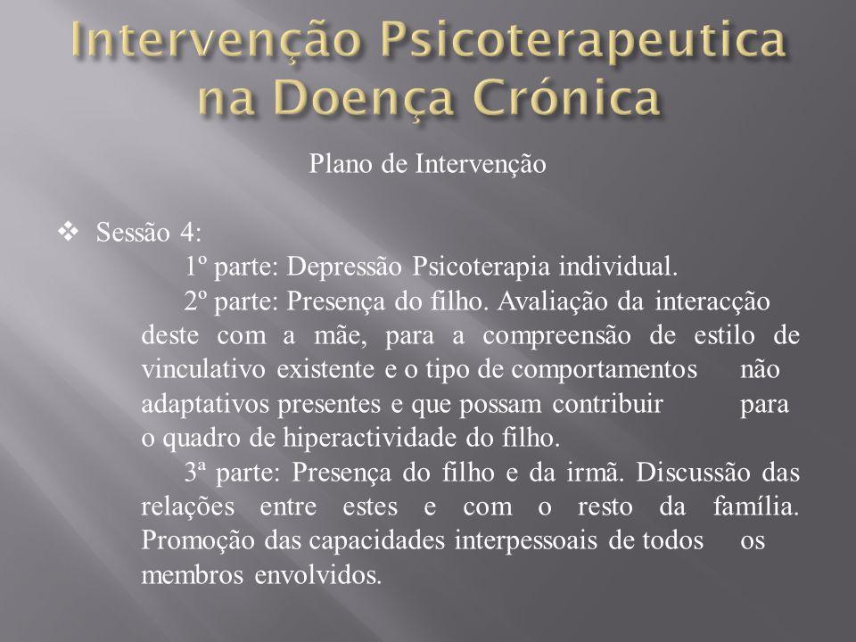 Plano de Intervenção Sessão 4: 1º parte: Depressão Psicoterapia individual.