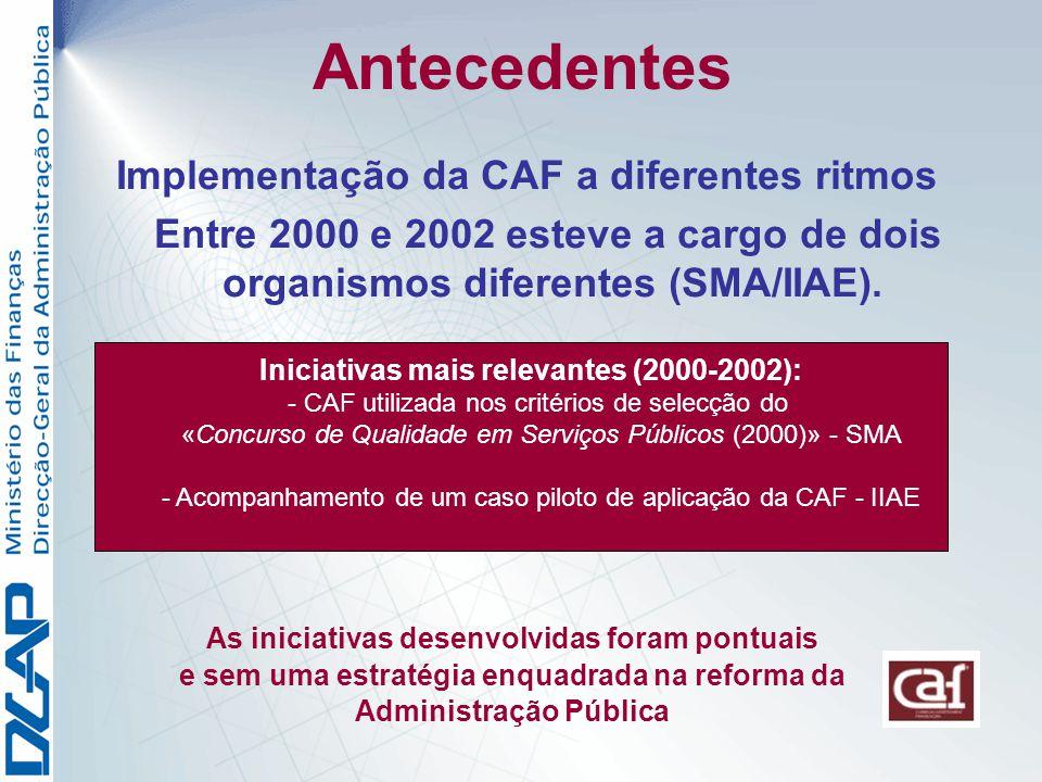 Antecedentes Implementação da CAF a diferentes ritmos Entre 2000 e 2002 esteve a cargo de dois organismos diferentes (SMA/IIAE).