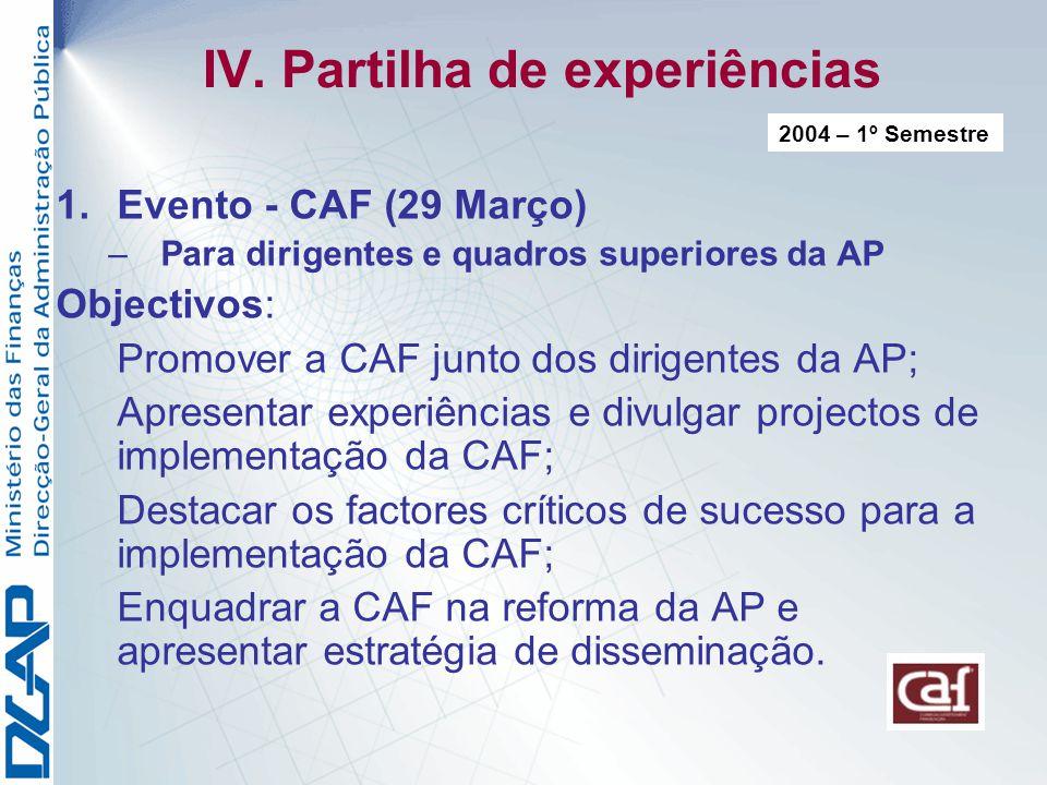 IV. Partilha de experiências 1.Evento - CAF (29 Março) –Para dirigentes e quadros superiores da AP Objectivos: Promover a CAF junto dos dirigentes da