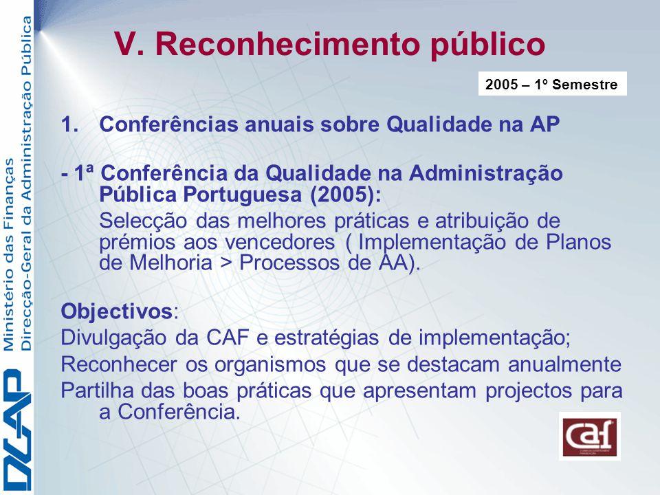 V. Reconhecimento público 1.Conferências anuais sobre Qualidade na AP - 1ª Conferência da Qualidade na Administração Pública Portuguesa (2005): Selecç