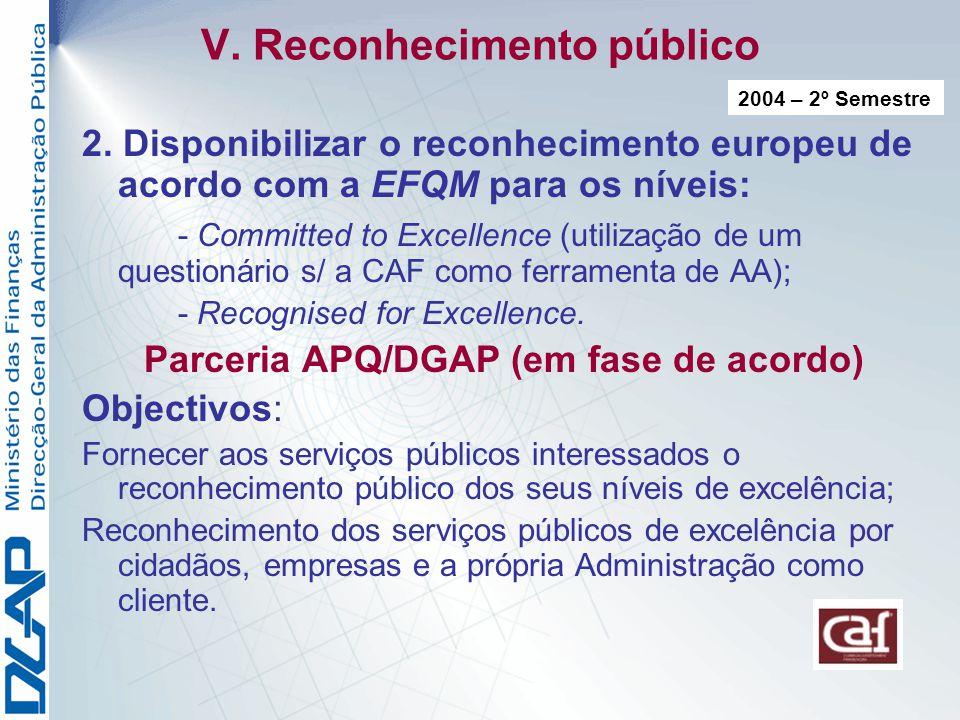 V.Reconhecimento público 2.