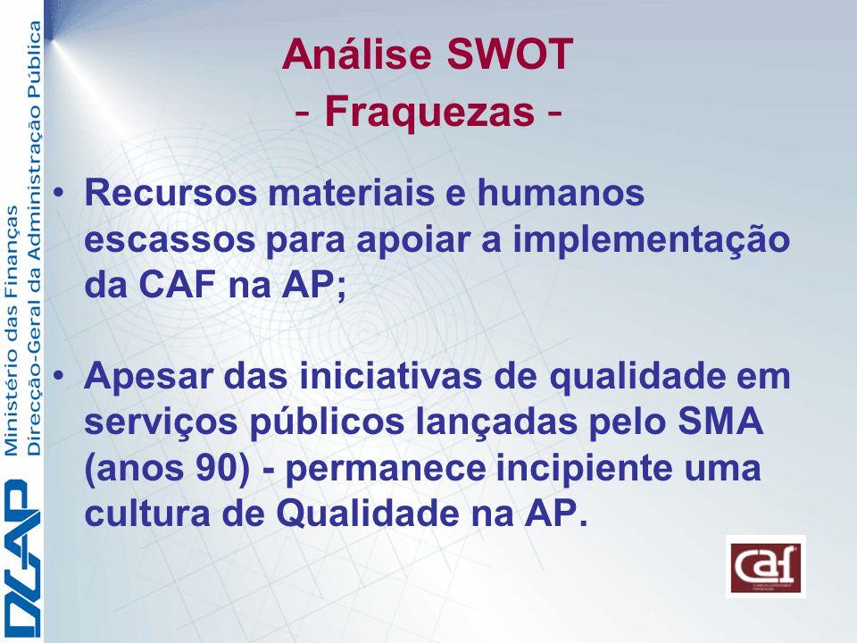 Análise SWOT - Fraquezas - Recursos materiais e humanos escassos para apoiar a implementação da CAF na AP; Apesar das iniciativas de qualidade em serviços públicos lançadas pelo SMA (anos 90) - permanece incipiente uma cultura de Qualidade na AP.