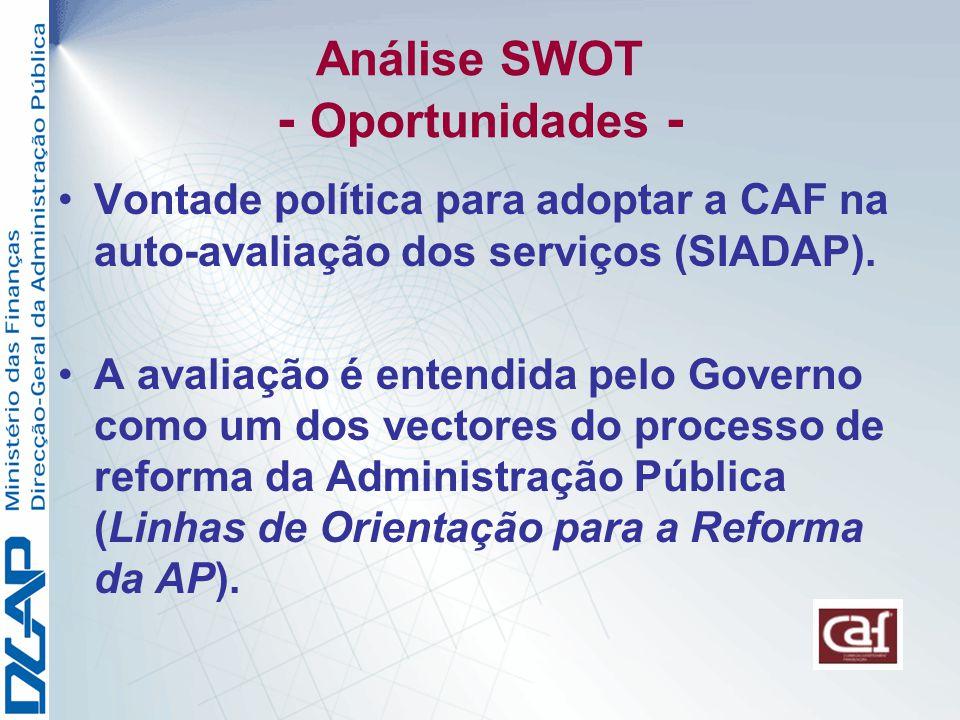 Análise SWOT - Oportunidades - Vontade política para adoptar a CAF na auto-avaliação dos serviços (SIADAP).