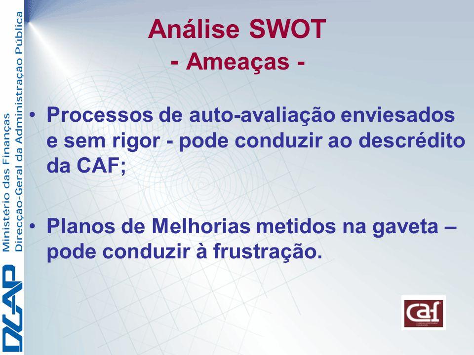 Análise SWOT - Ameaças - Processos de auto-avaliação enviesados e sem rigor - pode conduzir ao descrédito da CAF; Planos de Melhorias metidos na gaveta – pode conduzir à frustração.