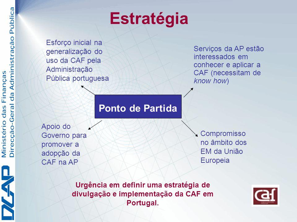 Estratégia Ponto de Partida Esforço inicial na generalização do uso da CAF pela Administração Pública portuguesa Serviços da AP estão interessados em conhecer e aplicar a CAF (necessitam de know how) Apoio do Governo para promover a adopção da CAF na AP Compromisso no âmbito dos EM da União Europeia Urgência em definir uma estratégia de divulgação e implementação da CAF em Portugal.