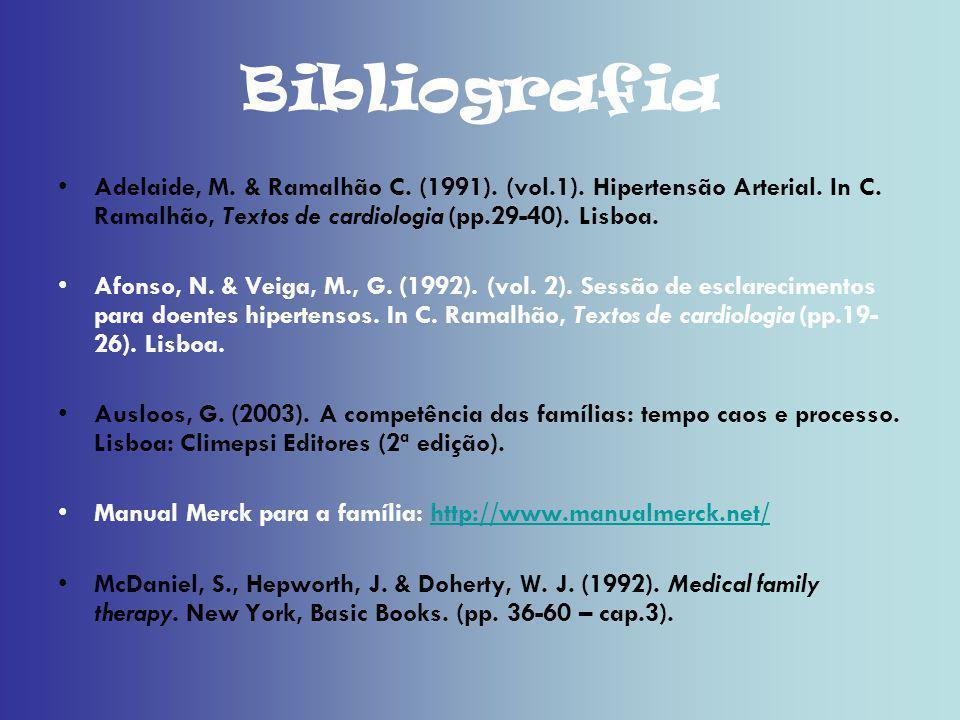 Bibliografia Adelaide, M. & Ramalhão C. (1991). (vol.1). Hipertensão Arterial. In C. Ramalhão, Textos de cardiologia (pp.29-40). Lisboa. Afonso, N. &