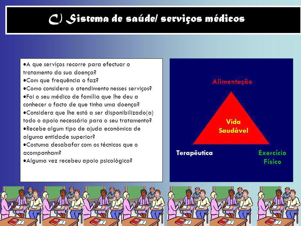 C) Sistema de saúde/ serviços médicos A que serviços recorre para efectuar o tratamento da sua doença? Com que frequência o faz? Como considera o aten