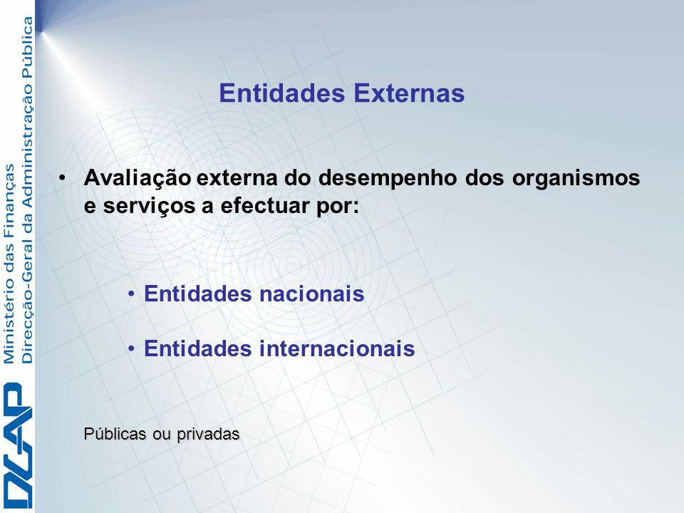 Entidades Externas Avaliação externa do desempenho dos organismos e serviços a efectuar por: Entidades nacionais Entidades internacionais Públicas ou