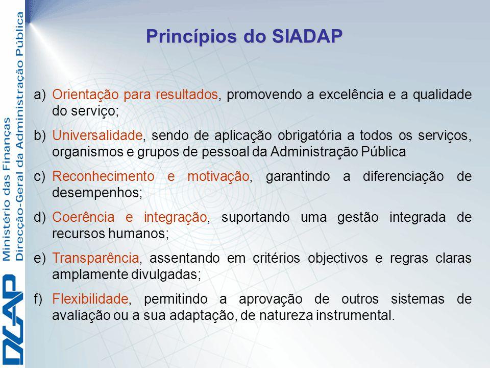 a) a)Orientação para resultados, promovendo a excelência e a qualidade do serviço; b) b)Universalidade, sendo de aplicação obrigatória a todos os serv