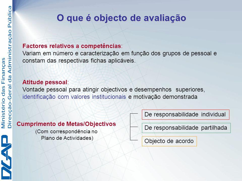 O que é objecto de avaliação Factores relativos a competências: Variam em número e caracterização em função dos grupos de pessoal e constam das respec