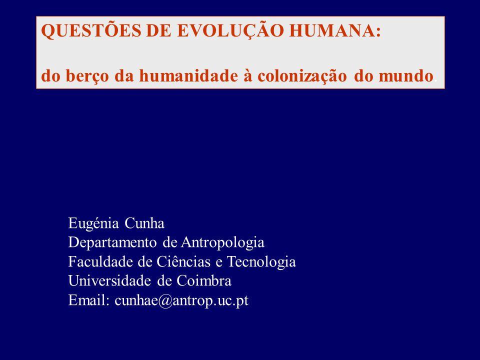 QUESTÕES DE EVOLUÇÃO HUMANA: do berço da humanidade à colonização do mundo.
