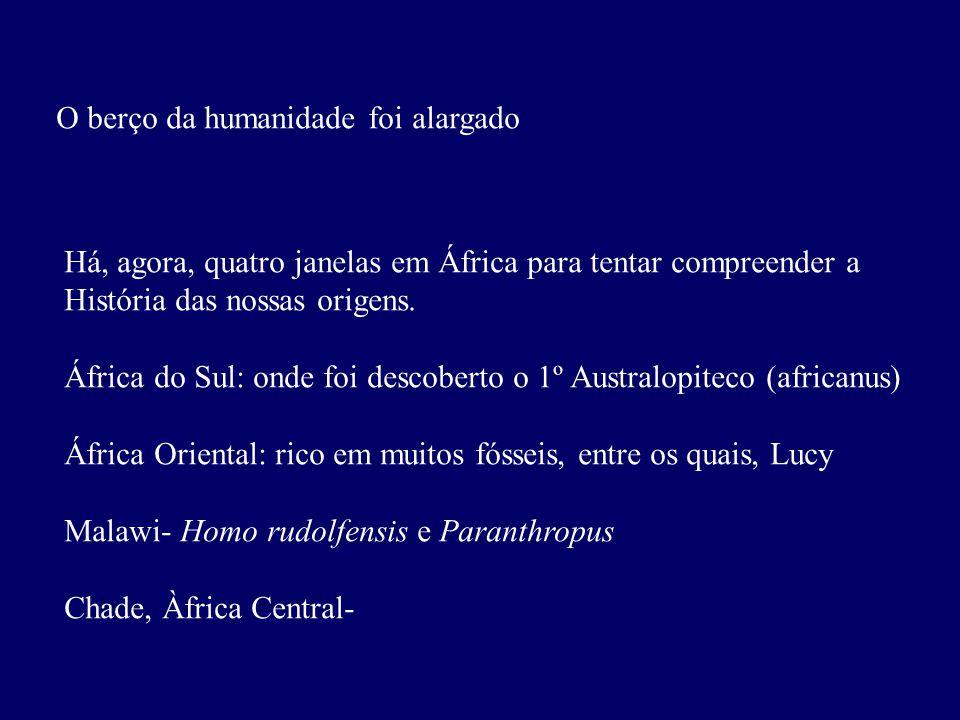 O berço da humanidade foi alargado Há, agora, quatro janelas em África para tentar compreender a História das nossas origens.
