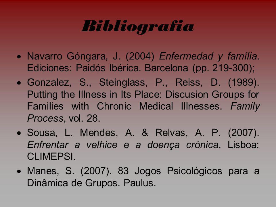 Bibliografia Navarro Góngara, J.(2004) Enfermedad y família.