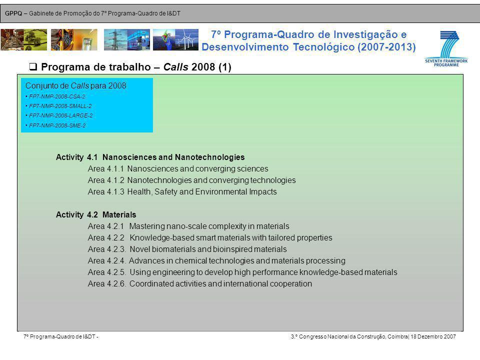 GPPQ – Gabinete de Promoção do 7º Programa-Quadro de I&DT 7º Programa-Quadro de I&DT -3.º Congresso Nacional da Construção, Coimbra| 18 Dezembro 2007 7º Programa-Quadro de Investigação e Desenvolvimento Tecnológico (2007-2013) 12 Programa de trabalho – Calls 2008 (1) Conjunto de Calls para 2008 FP7-NMP-2008-CSA-2 FP7-NMP-2008-SMALL-2 FP7-NMP-2008-LARGE-2 FP7-NMP-2008-SME-2 Activity 4.1 Nanosciences and Nanotechnologies Area 4.1.1 Nanosciences and converging sciences Area 4.1.2 Nanotechnologies and converging technologies Area 4.1.3 Health, Safety and Environmental Impacts Activity 4.2 Materials Area 4.2.1 Mastering nano-scale complexity in materials Area 4.2.2 Knowledge-based smart materials with tailored properties Area 4.2.3.