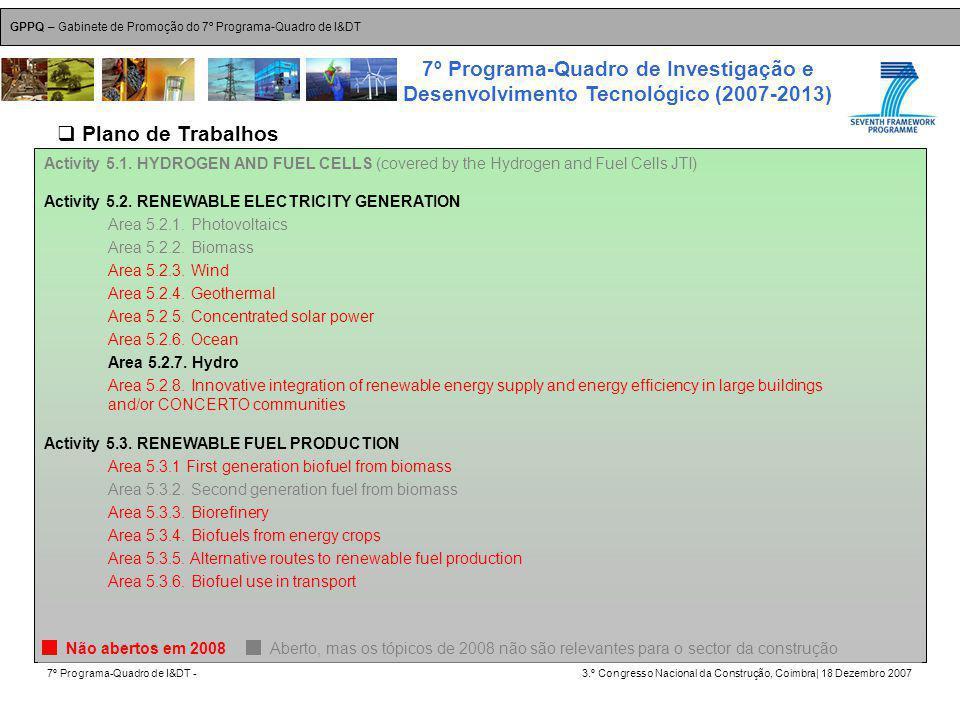 GPPQ – Gabinete de Promoção do 7º Programa-Quadro de I&DT 7º Programa-Quadro de I&DT -3.º Congresso Nacional da Construção, Coimbra| 18 Dezembro 2007 7º Programa-Quadro de Investigação e Desenvolvimento Tecnológico (2007-2013) 29 Activity 5.1.