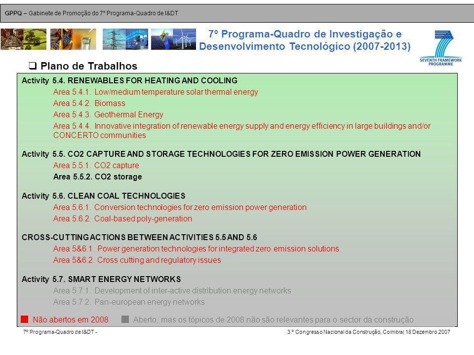 GPPQ – Gabinete de Promoção do 7º Programa-Quadro de I&DT 7º Programa-Quadro de I&DT -3.º Congresso Nacional da Construção, Coimbra| 18 Dezembro 2007 7º Programa-Quadro de Investigação e Desenvolvimento Tecnológico (2007-2013) 30 Activity 5.4.