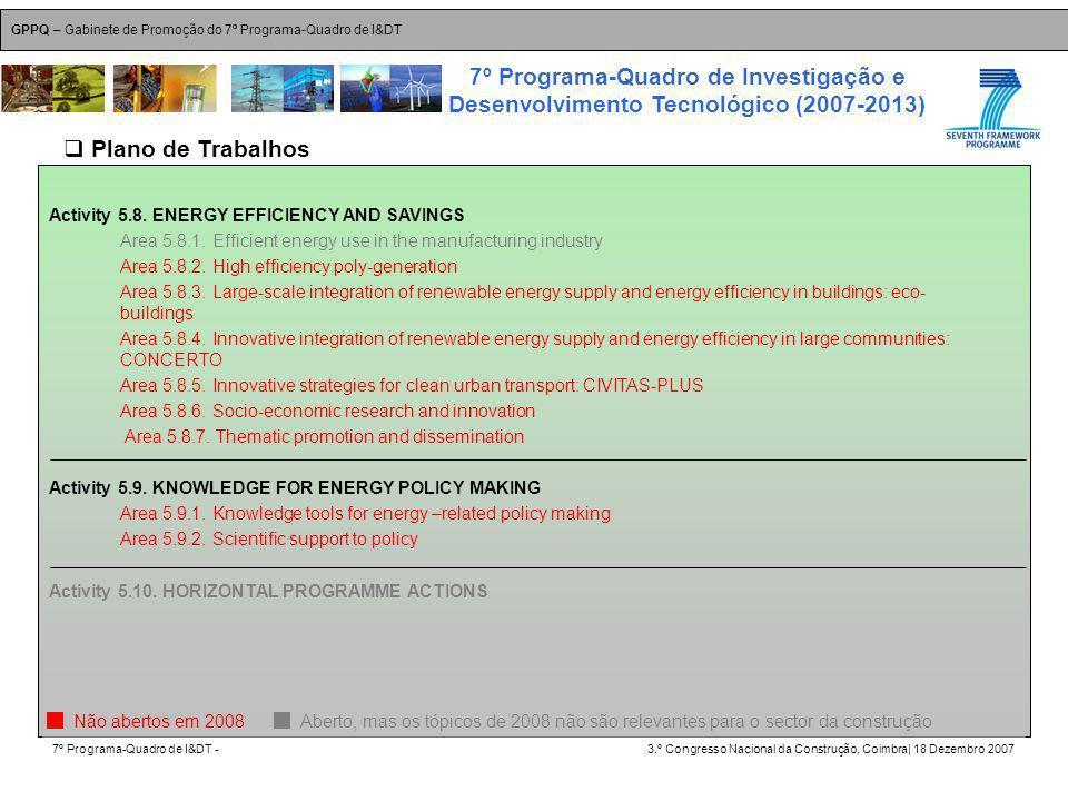 GPPQ – Gabinete de Promoção do 7º Programa-Quadro de I&DT 7º Programa-Quadro de I&DT -3.º Congresso Nacional da Construção, Coimbra| 18 Dezembro 2007 7º Programa-Quadro de Investigação e Desenvolvimento Tecnológico (2007-2013) 31 Activity 5.8.