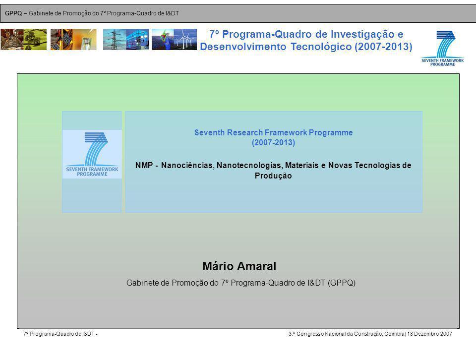 GPPQ – Gabinete de Promoção do 7º Programa-Quadro de I&DT 7º Programa-Quadro de I&DT -3.º Congresso Nacional da Construção, Coimbra| 18 Dezembro 2007 7º Programa-Quadro de Investigação e Desenvolvimento Tecnológico (2007-2013) 9 Mário Amaral Seventh Research Framework Programme (2007-2013) NMP - Nanociências, Nanotecnologias, Materiais e Novas Tecnologias de Produção Gabinete de Promoção do 7º Programa-Quadro de I&DT (GPPQ)