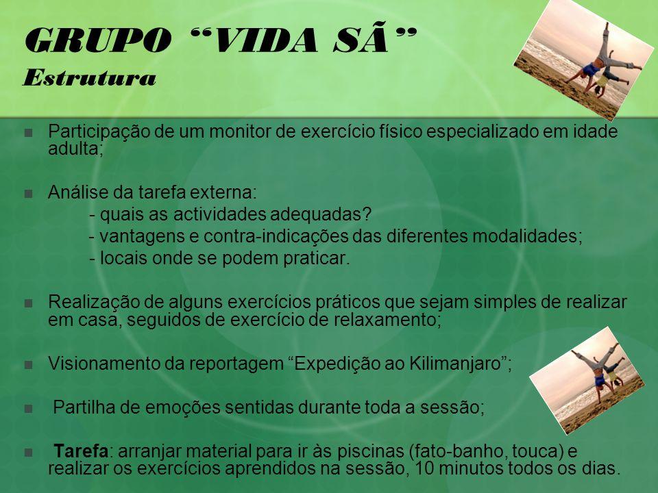 GRUPO VIDA SÃ Estrutura Participação de um monitor de exercício físico especializado em idade adulta; Análise da tarefa externa: - quais as actividades adequadas.