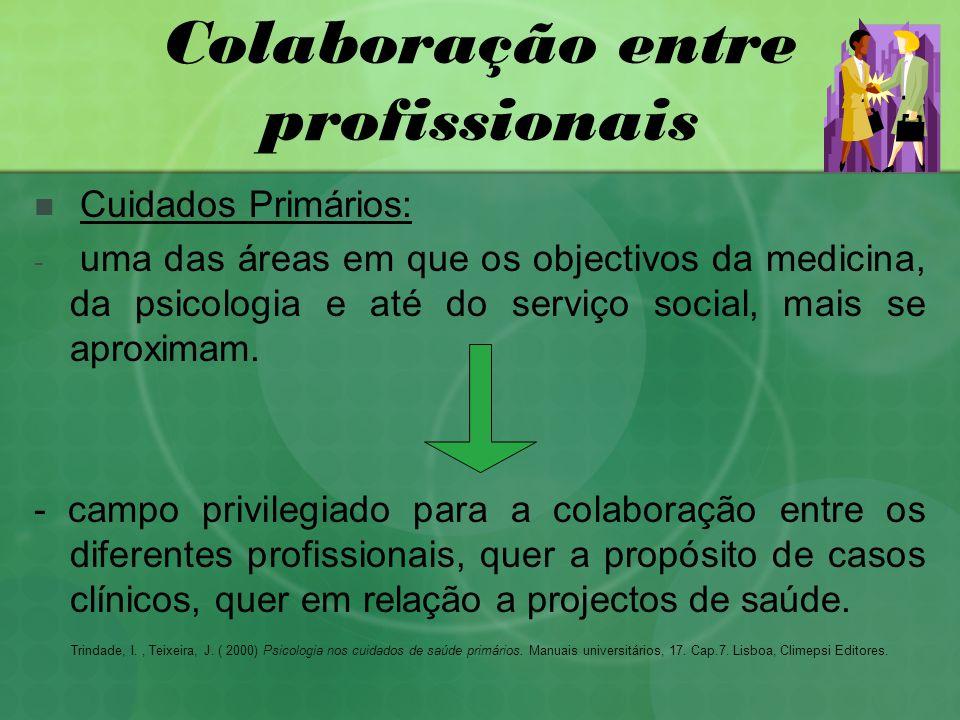Colaboração entre profissionais Cuidados Primários: - uma das áreas em que os objectivos da medicina, da psicologia e até do serviço social, mais se aproximam.