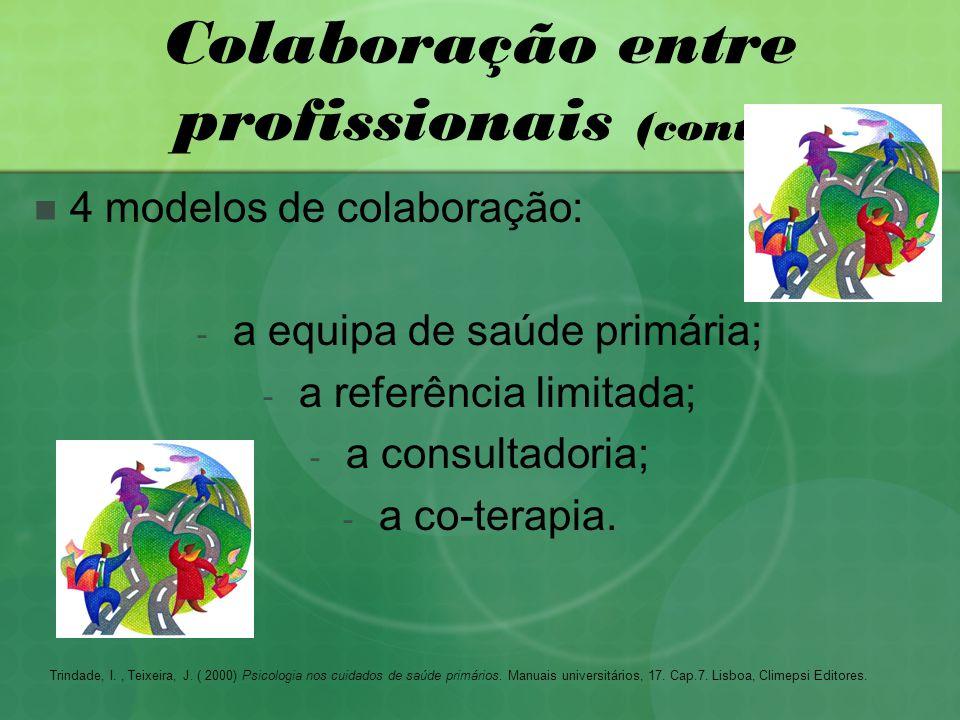 Colaboração entre profissionais (cont.) 4 modelos de colaboração: - a equipa de saúde primária; - a referência limitada; - a consultadoria; - a co-terapia.
