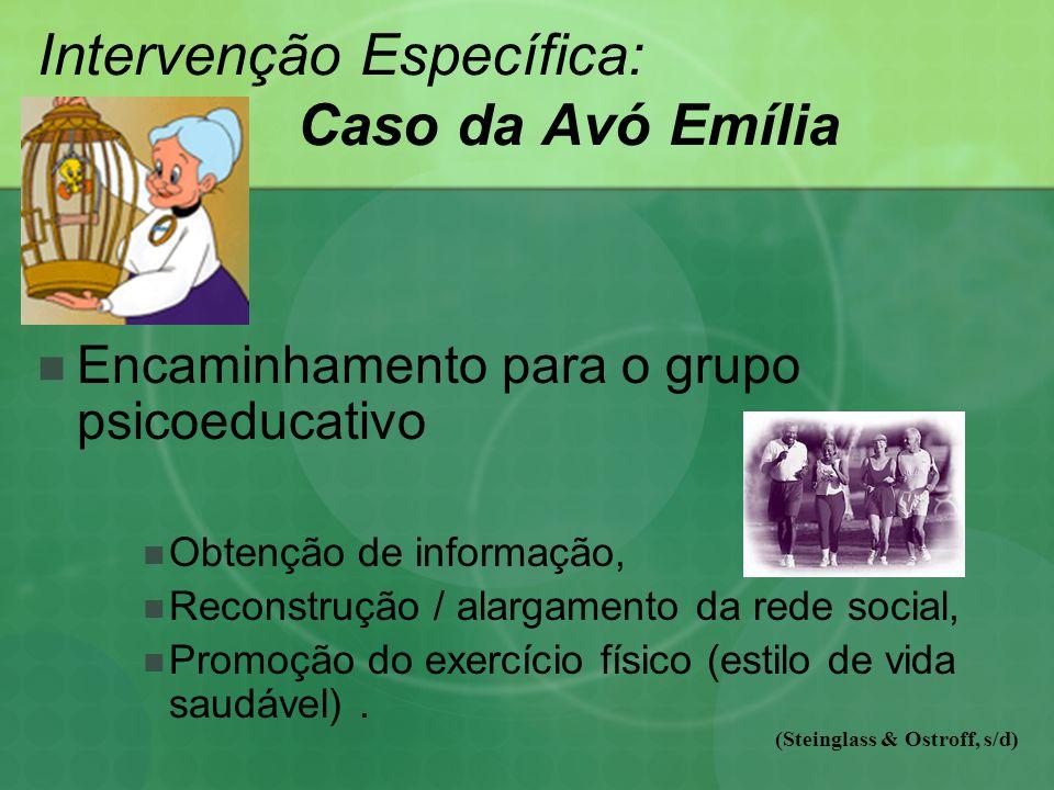 Intervenção Específica: Caso da Avó Emília Encaminhamento para o grupo psicoeducativo Obtenção de informação, Reconstrução / alargamento da rede social, Promoção do exercício físico (estilo de vida saudável).