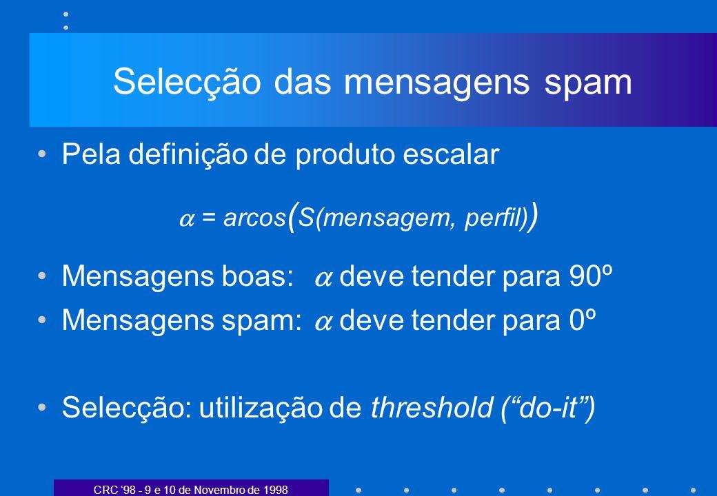 CRC 98 - 9 e 10 de Novembro de 1998 Selecção das mensagens spam Pela definição de produto escalar = arcos ( S(mensagem, perfil) ) Mensagens boas: deve tender para 90º Mensagens spam: deve tender para 0º Selecção: utilização de threshold (do-it)