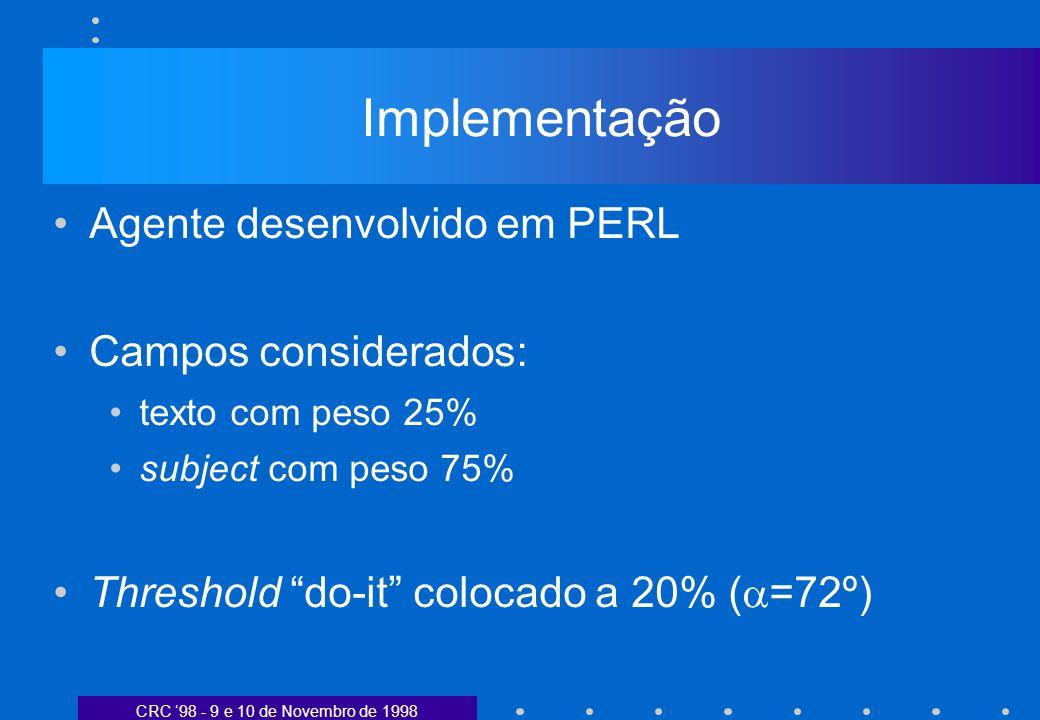 CRC 98 - 9 e 10 de Novembro de 1998 Implementação Agente desenvolvido em PERL Campos considerados: texto com peso 25% subject com peso 75% Threshold do-it colocado a 20% ( =72º)
