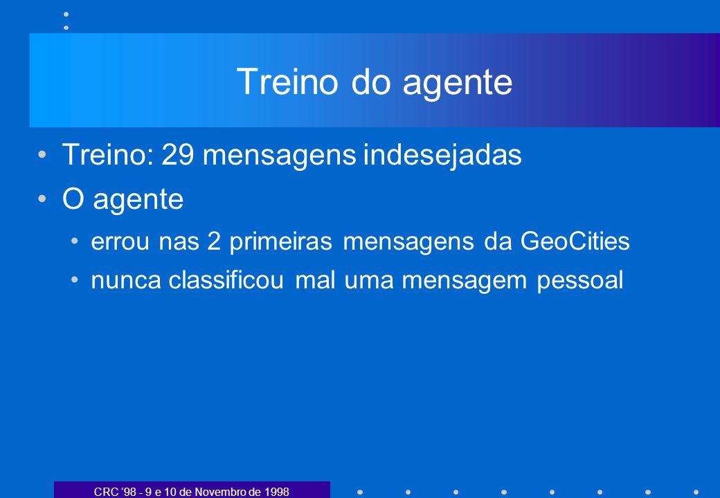 CRC 98 - 9 e 10 de Novembro de 1998 Treino do agente Treino: 29 mensagens indesejadas O agente errou nas 2 primeiras mensagens da GeoCities nunca classificou mal uma mensagem pessoal