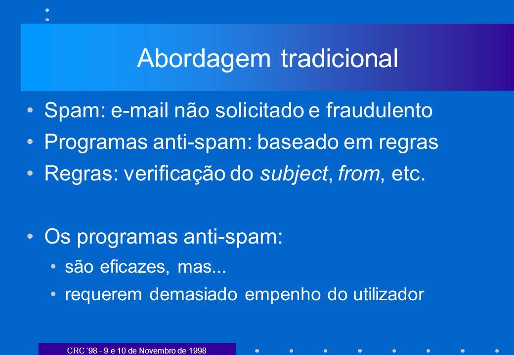 CRC 98 - 9 e 10 de Novembro de 1998 Abordagem tradicional Spam: e-mail não solicitado e fraudulento Programas anti-spam: baseado em regras Regras: verificação do subject, from, etc.
