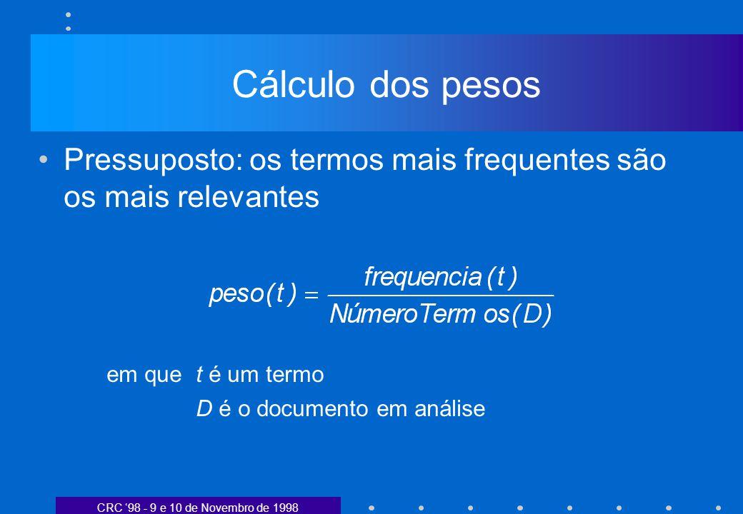 CRC 98 - 9 e 10 de Novembro de 1998 Cálculo dos pesos Pressuposto: os termos mais frequentes são os mais relevantes em quet é um termo D é o documento em análise
