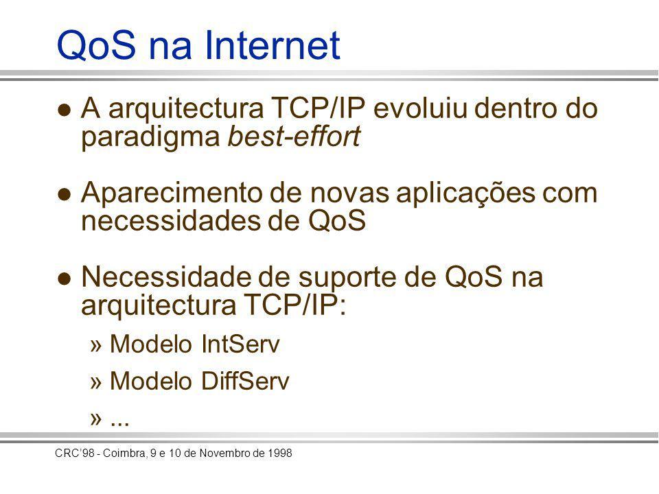 CRC98 - Coimbra, 9 e 10 de Novembro de 1998 QoS na Internet A arquitectura TCP/IP evoluiu dentro do paradigma best-effort Aparecimento de novas aplicações com necessidades de QoS Necessidade de suporte de QoS na arquitectura TCP/IP: »Modelo IntServ »Modelo DiffServ »...
