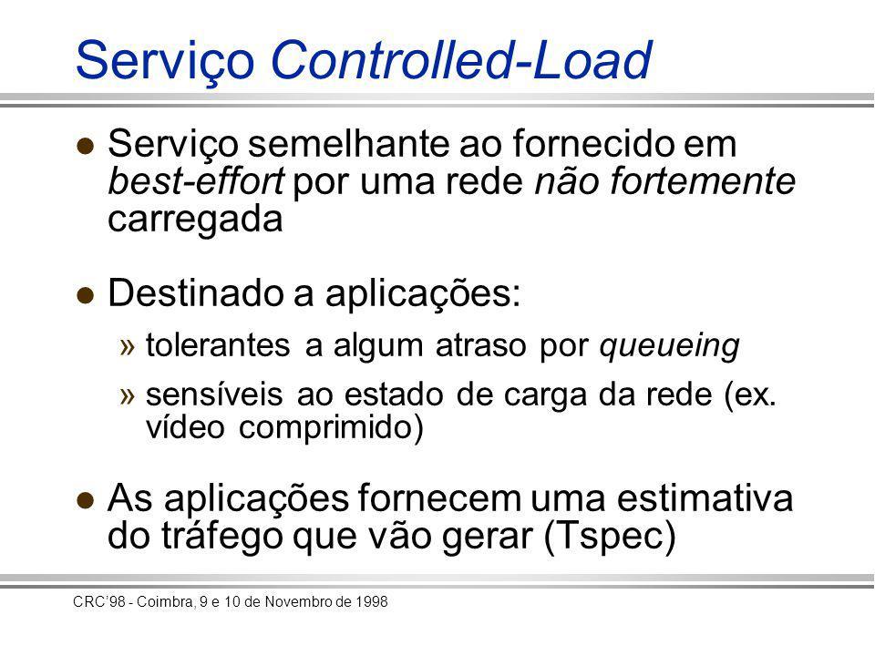 CRC98 - Coimbra, 9 e 10 de Novembro de 1998 Suporte do serviço Módulo de controlo de admissão »Aceita ou rejeita um novo fluxo em função do Tspec Módulo de classificação de pacotes »Uma fila por cada fluxo controlled-load »Uma fila para o tráfego best-effort Módulo de escalonamento »Serviço weighted fair queueing (WFQ)