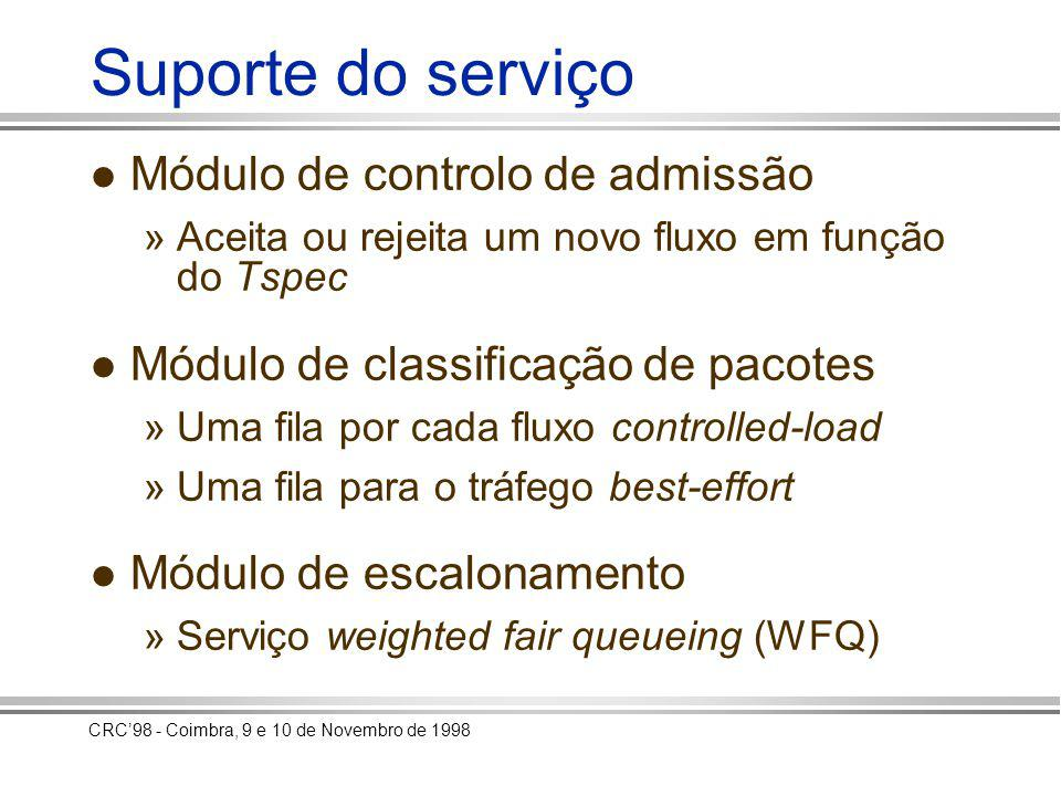 CRC98 - Coimbra, 9 e 10 de Novembro de 1998 Implementação e testes Implementação de um encaminhador com módulos IntServ em BSD Unix Geração de fluxos de teste: » em serviço controlled-load » em best-effort Medição do atraso e perdas de pacotes Comparação com os resultados obtidos com um encaminhador sem módulos IntServ