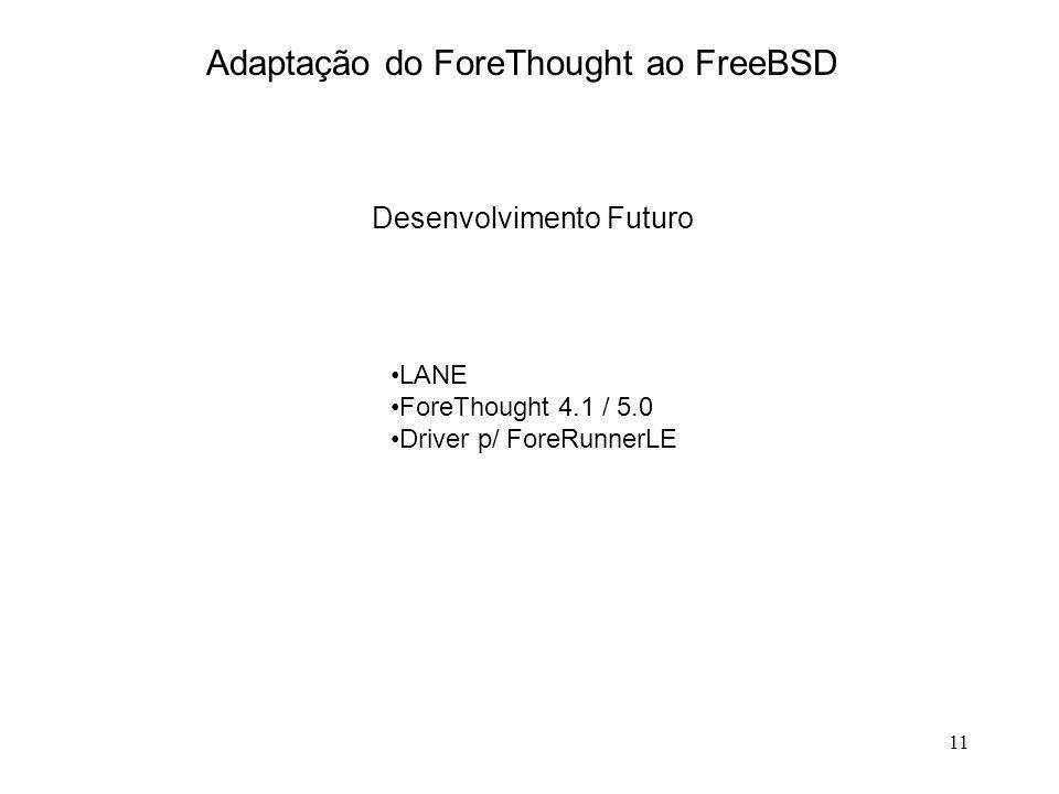 11 Adaptação do ForeThought ao FreeBSD Desenvolvimento Futuro LANE ForeThought 4.1 / 5.0 Driver p/ ForeRunnerLE