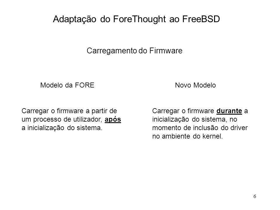 7 Adaptação do ForeThought ao FreeBSD Recepção de pdus Primeira versão do Driver : Cópia de buffers Versão actual do Driver : Transporte dos buffers proprietários para as camadas superiores