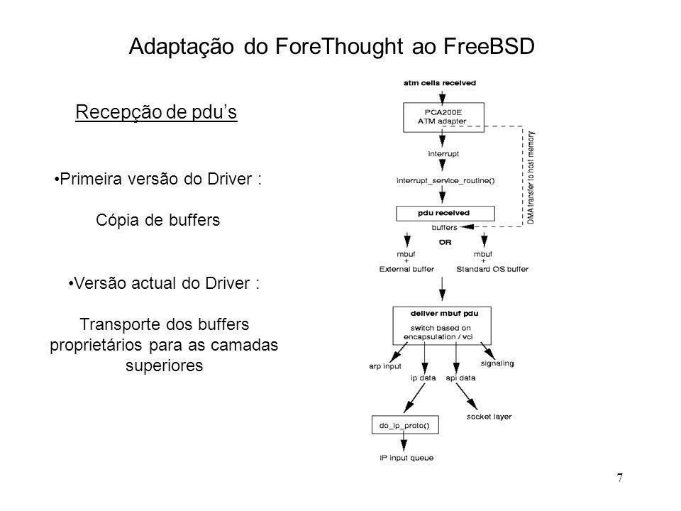 7 Adaptação do ForeThought ao FreeBSD Recepção de pdus Primeira versão do Driver : Cópia de buffers Versão actual do Driver : Transporte dos buffers p