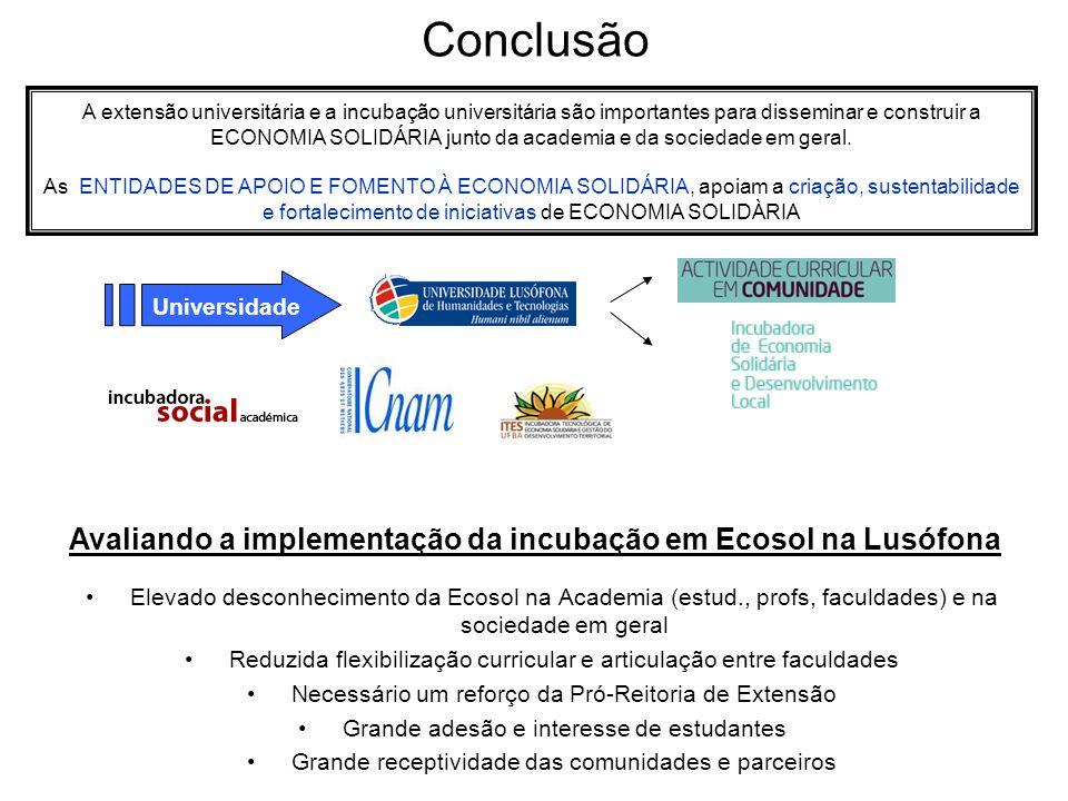 Conclusão Universidade A extensão universitária e a incubação universitária são importantes para disseminar e construir a ECONOMIA SOLIDÁRIA junto da